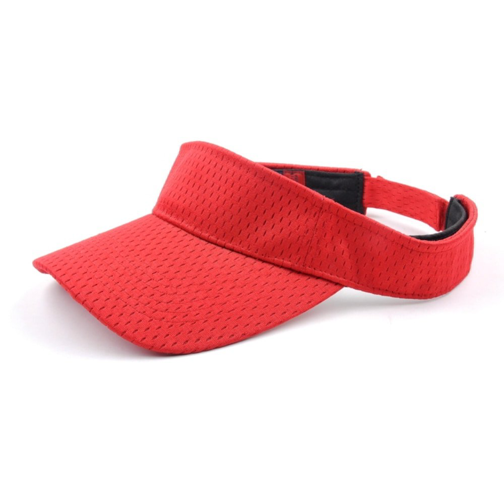 plain blank red sports visor hats