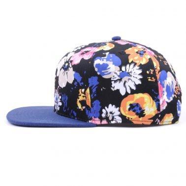 suede flat brim printed snapback hat