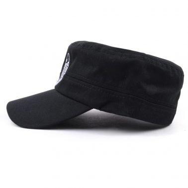 custom plain embroidery black military caps