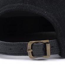 custom black metal wool leather brim snapback caps