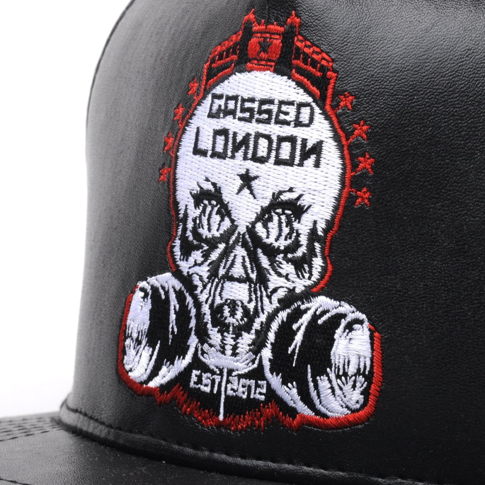 embroidery logo black leather snapback hats