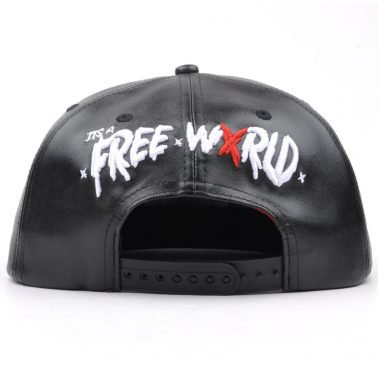embroidery logo black leather snapback hats
