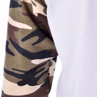 mens camo Splicing white long T-Shirts