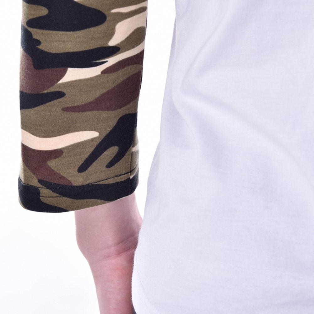mens camo Splicing white long T-Shirts