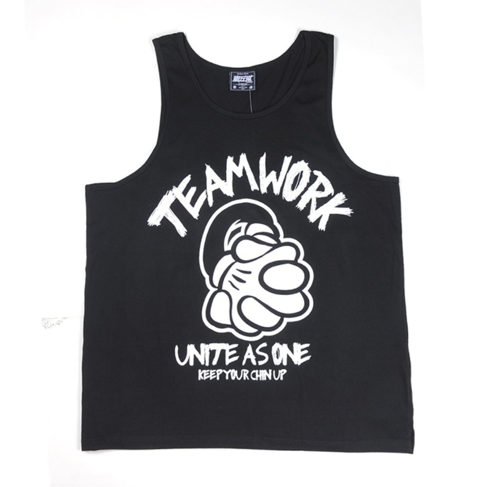 printing logo black mens tank top