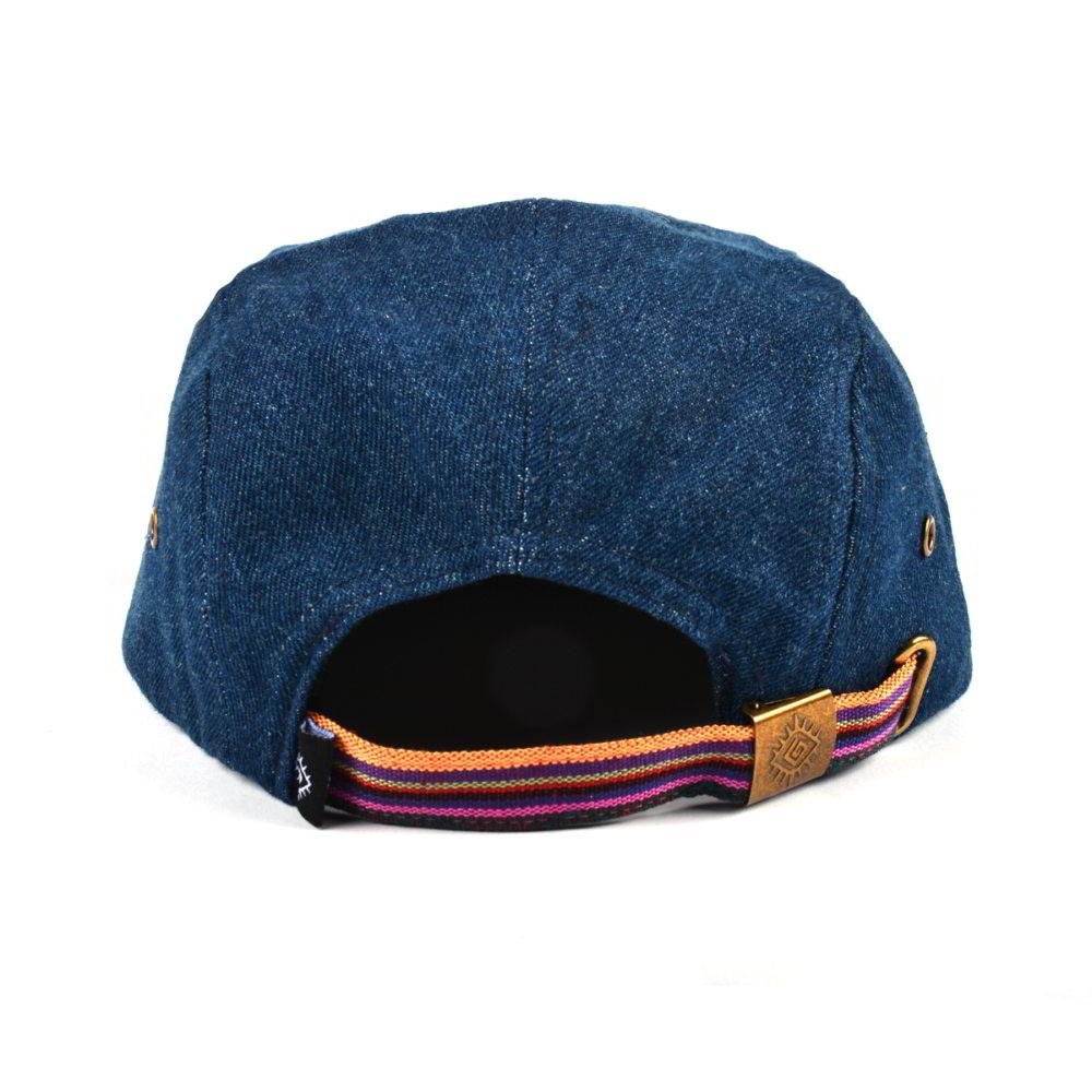 custom printing brim woven label 5 panels hat