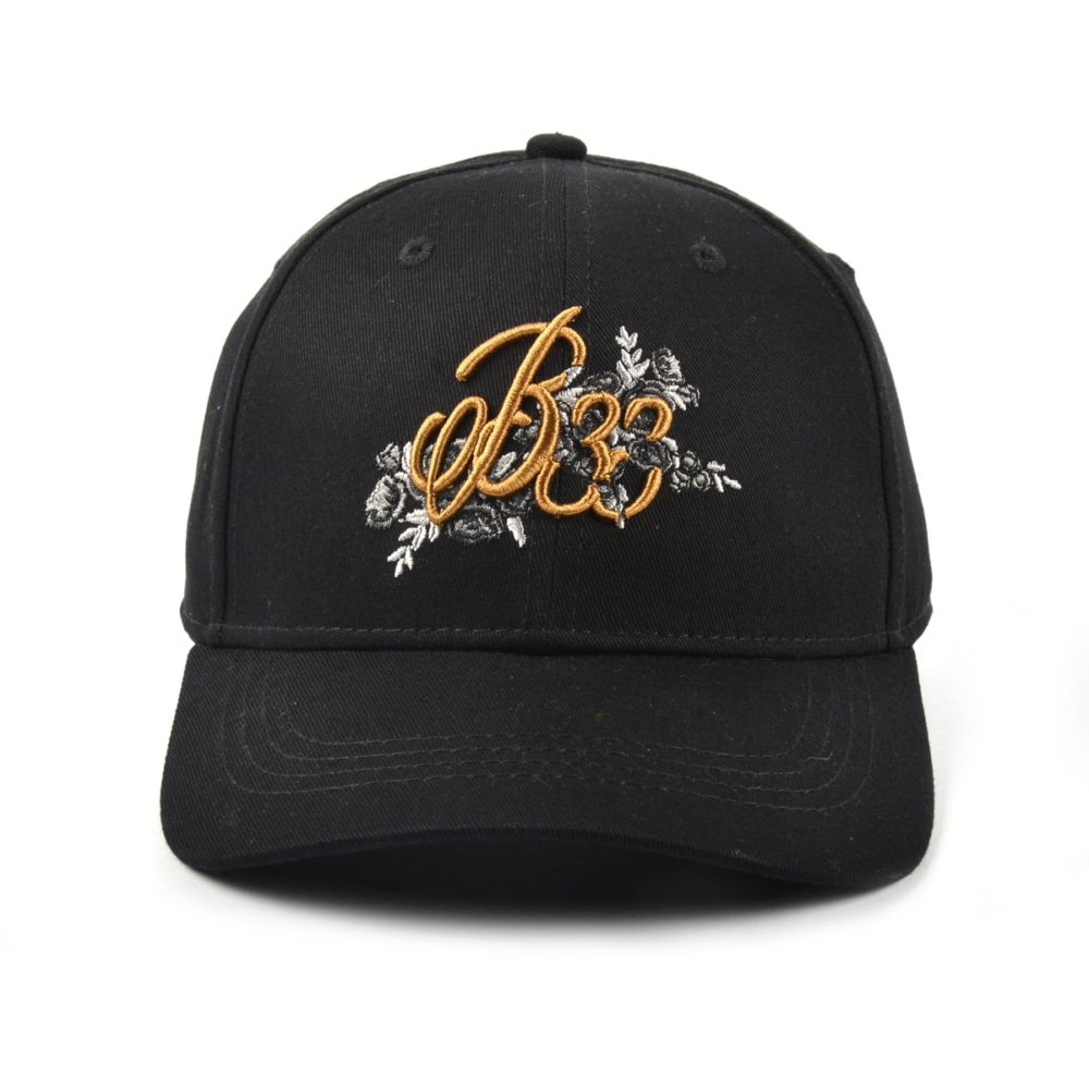 high quality embroidery logo black sports baseball caps