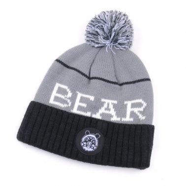 jacquard logo pom pom warm winter beanies hats