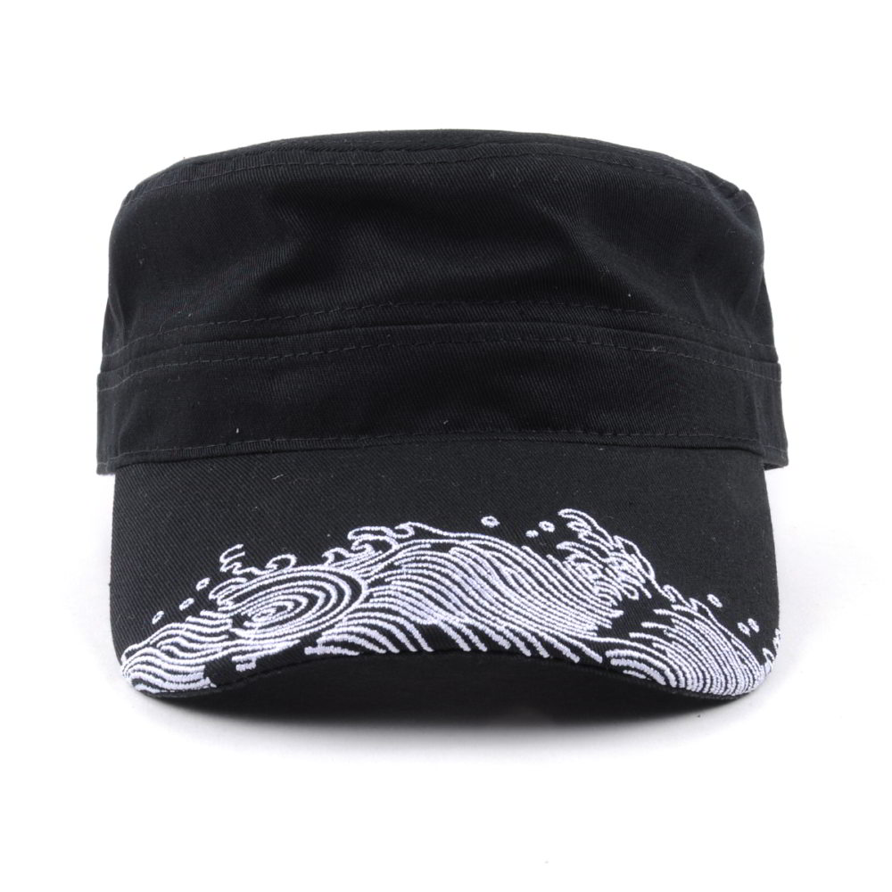 black cotton embroidery caps military hats