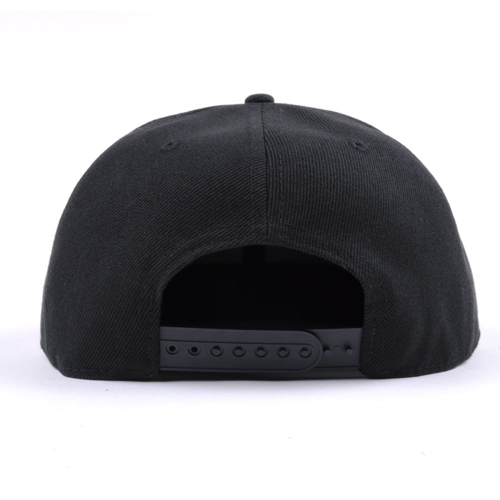 embroidery logo plain black snapback hats