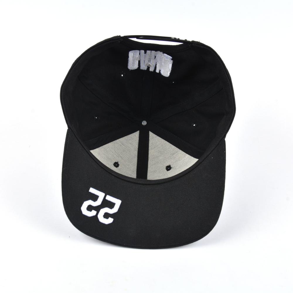 flat embroidery black snapback caps design logo custom