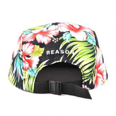 leather patch leather brim printing 5 panels hats