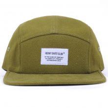 plain woven label flat brim 5 panels cap