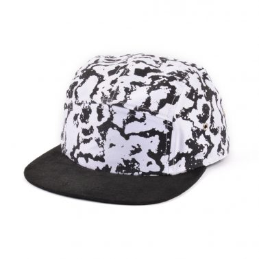 black suede 5 panels printing caps