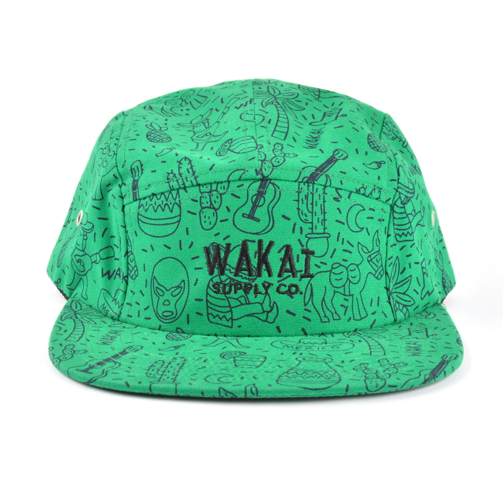 plain embroidery 5 panels printing caps
