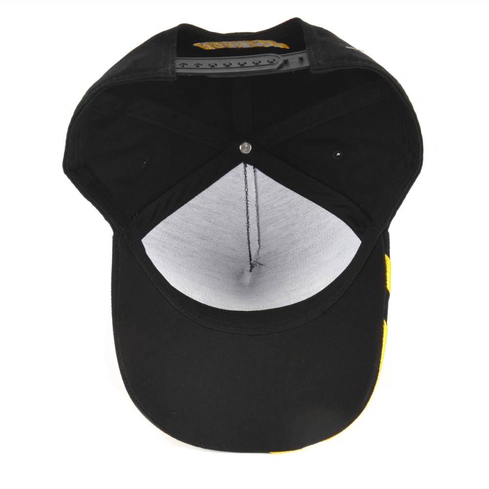 5 panels 3d logo black baseball caps