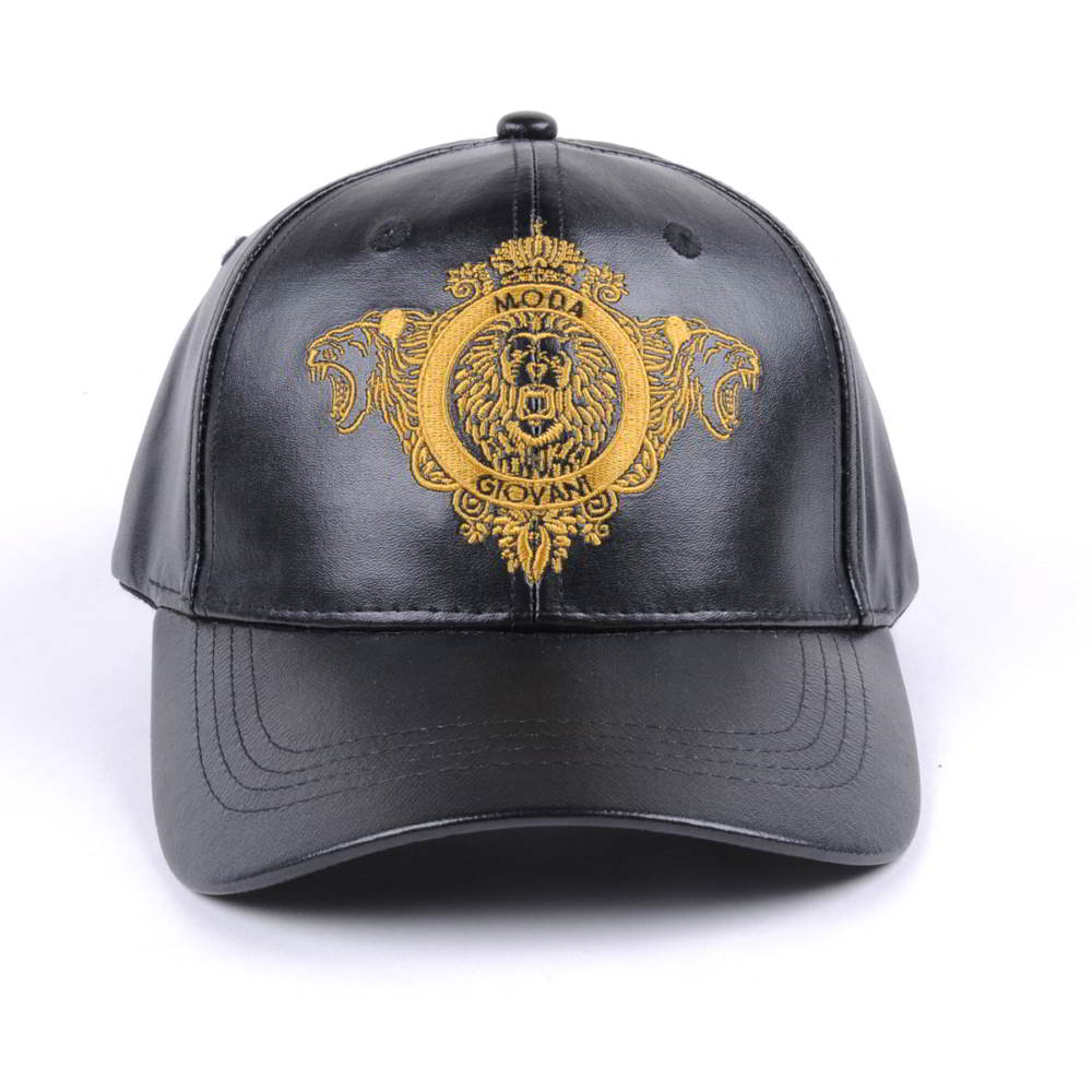 flat embroidery black leather baseball caps