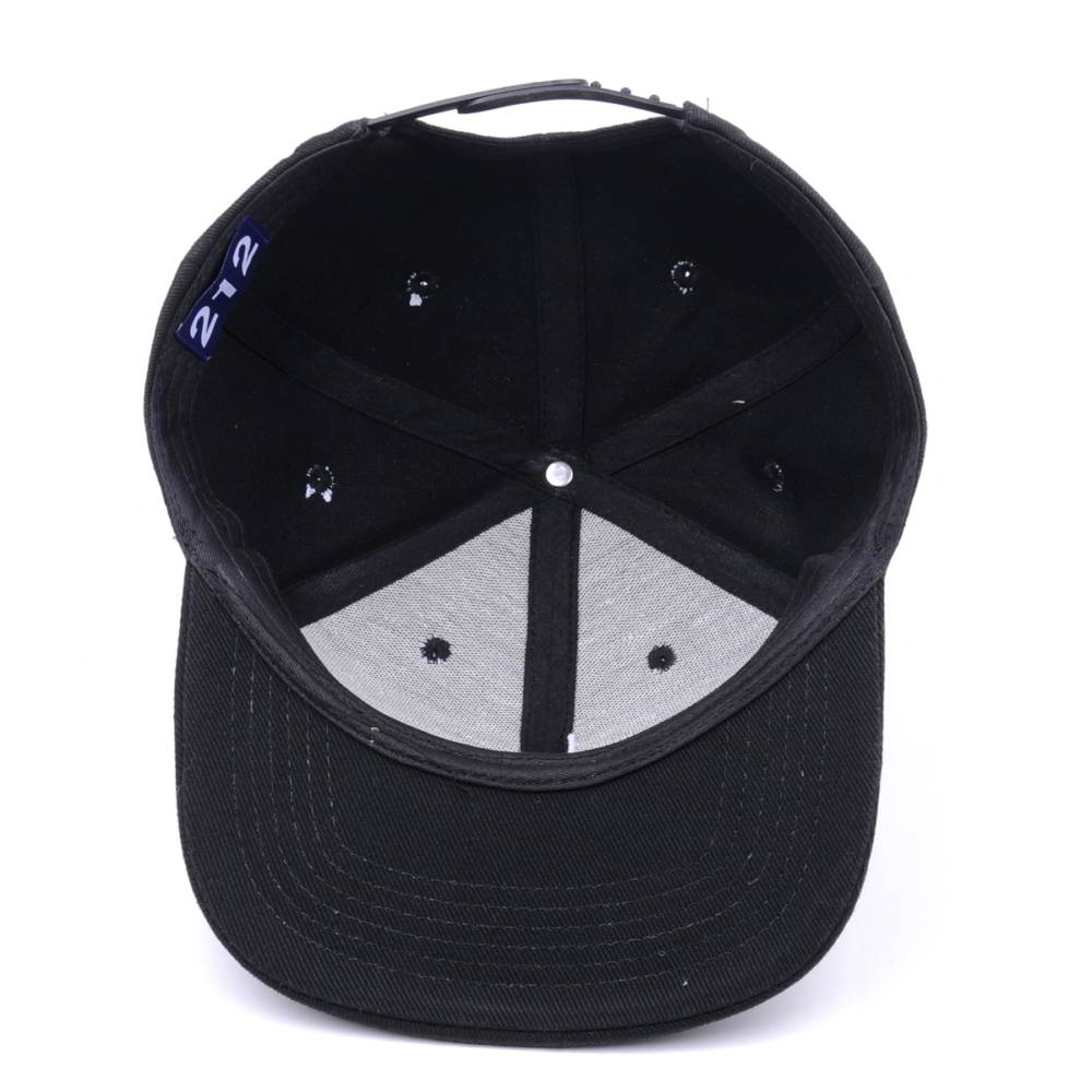 flat embroidery black snapback caps custom