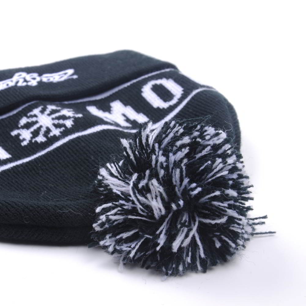 jacquard logo pom pom black winter beanies