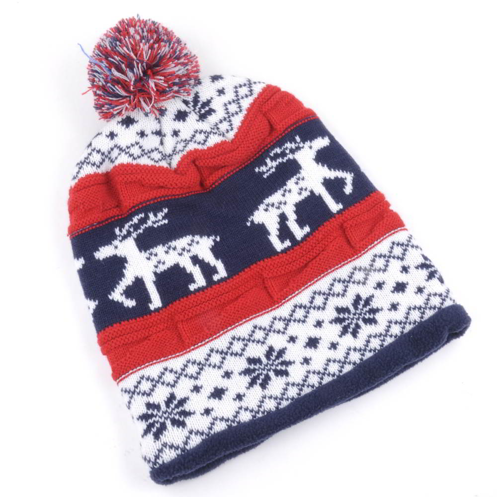 winter jacquard pom pom beanies knitted hats