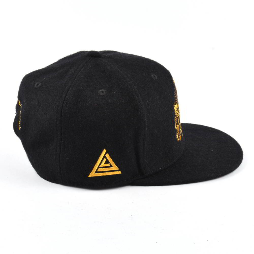 embroidery logo black metal wool snapback hats
