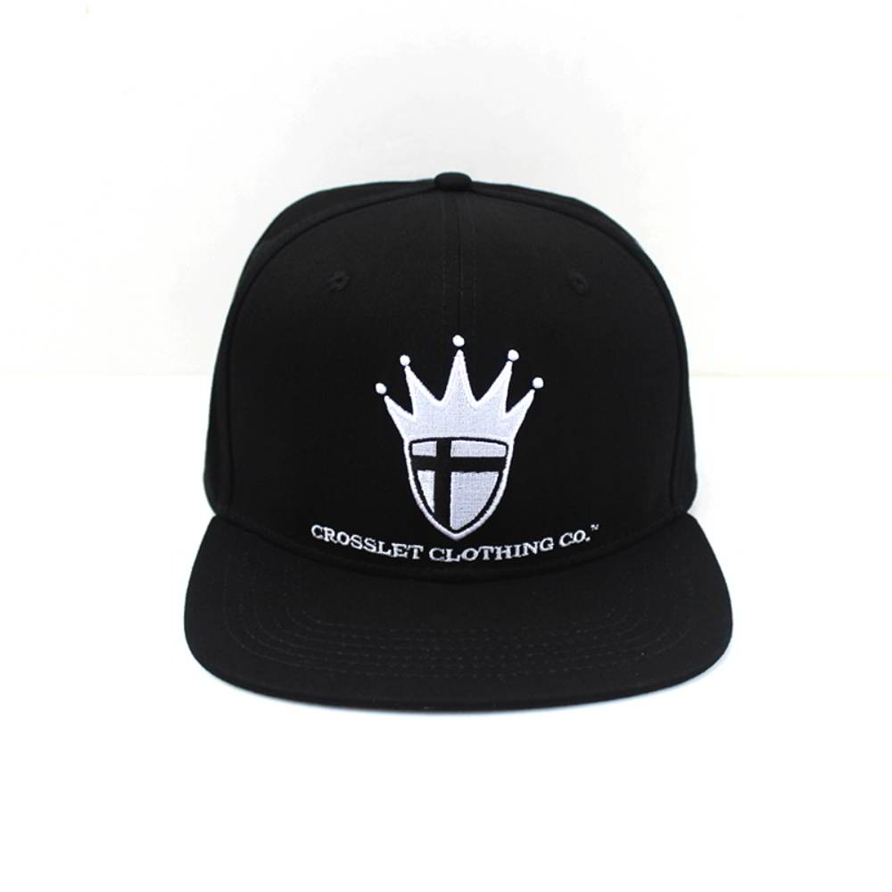 flat embroidery black snapback caps custom