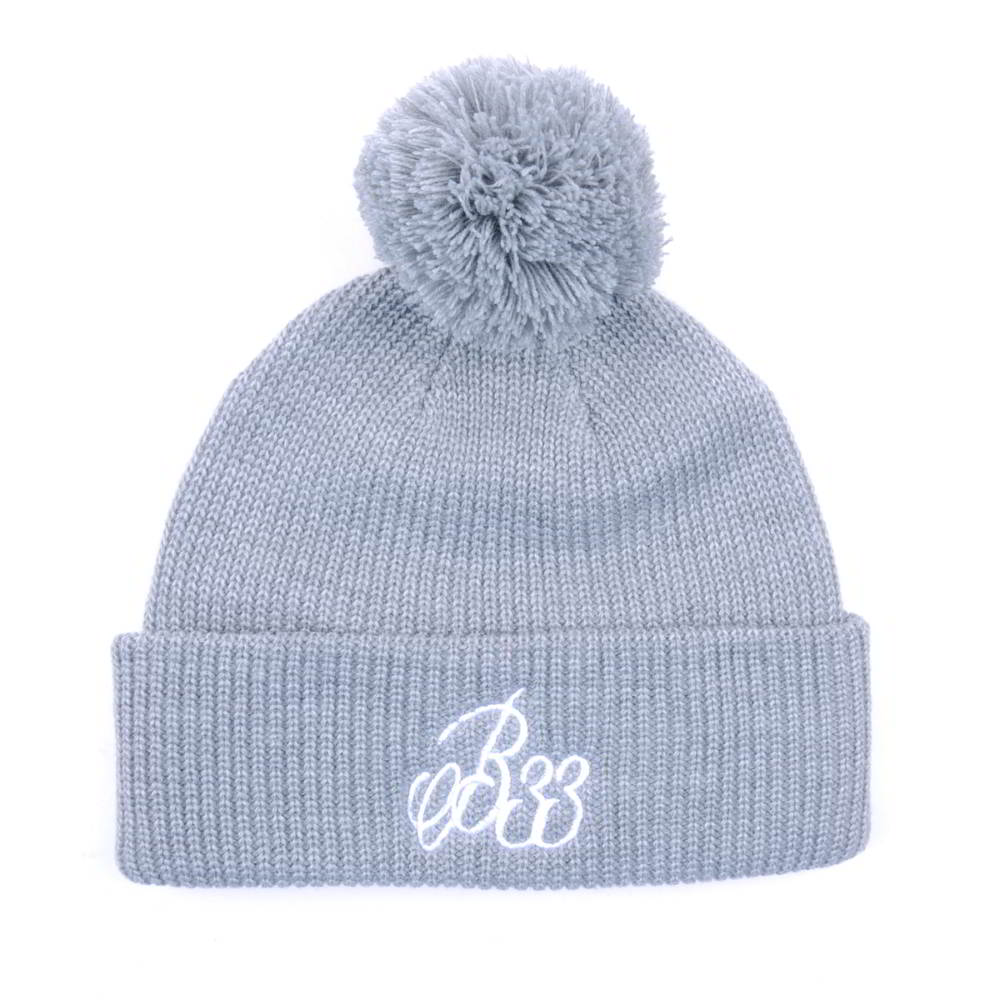 gray beanies embroidery logo cuffed pom beanies