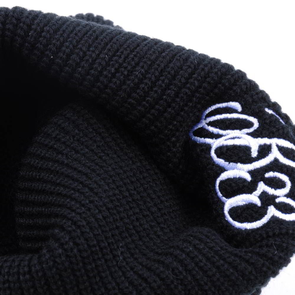 plain embroidery black winter knitted cuffed beanies