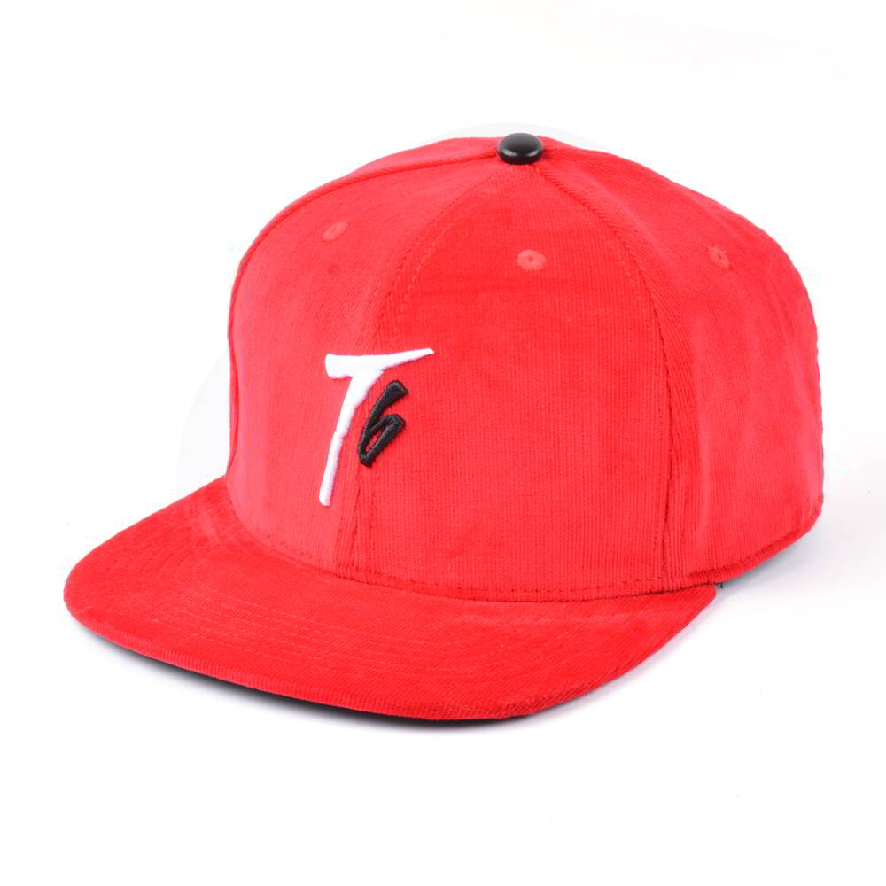 plain embroidery logo red corduroy snapback hats