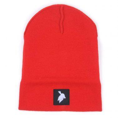 plain logo red knit cuffed hats beanies