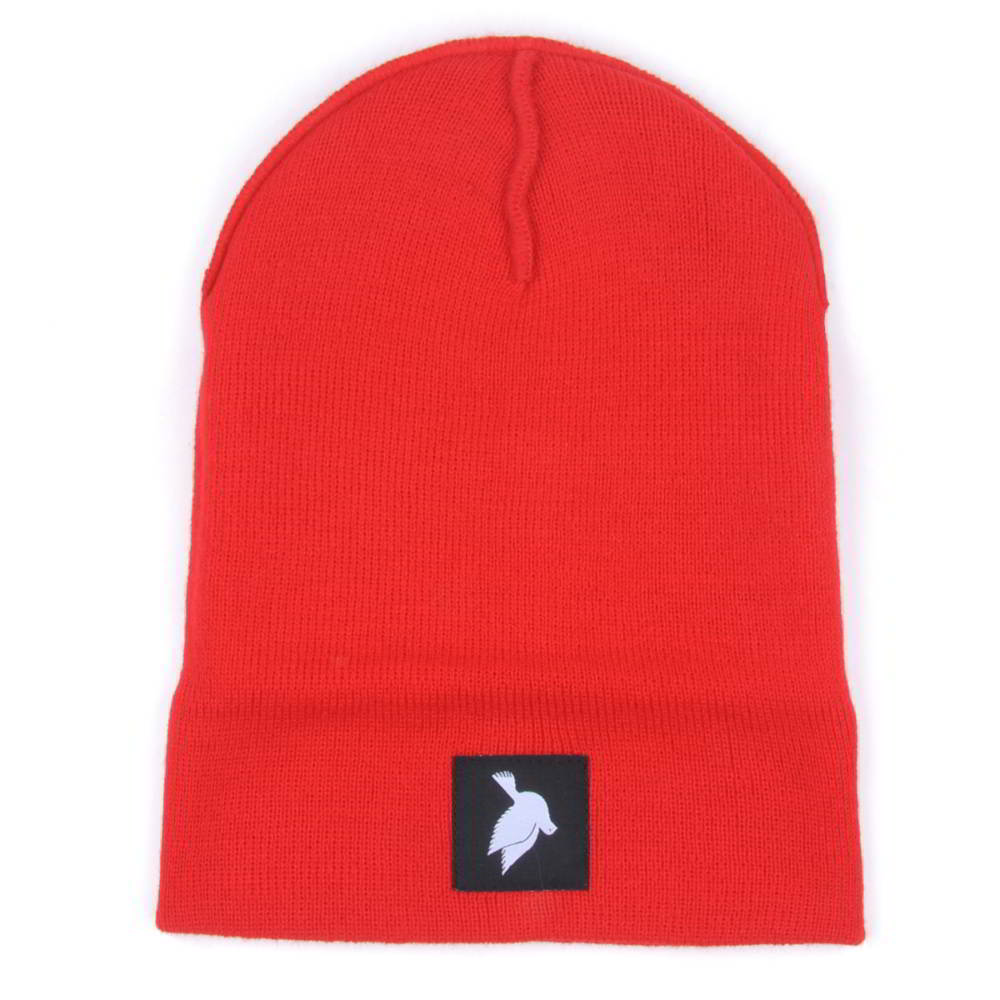 plain logo red knit cuffed hats beanies