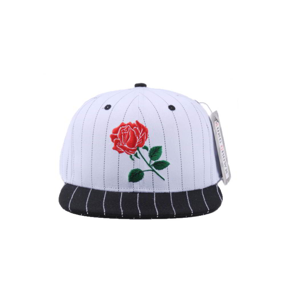 rose embroidery logo two color snapback caps custom