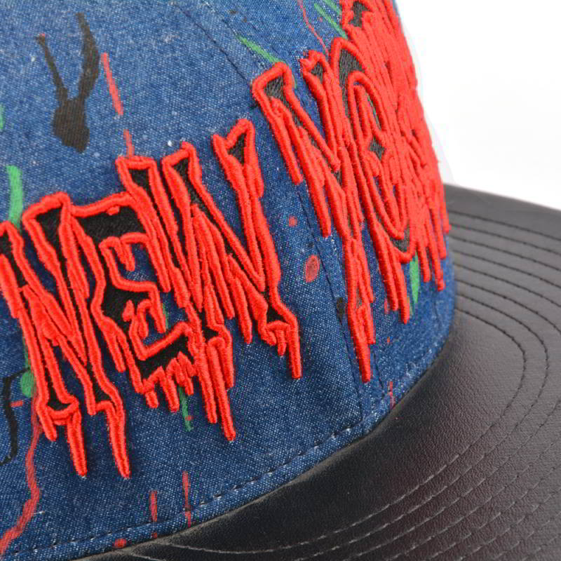 3d embroidery leather brim snapback caps