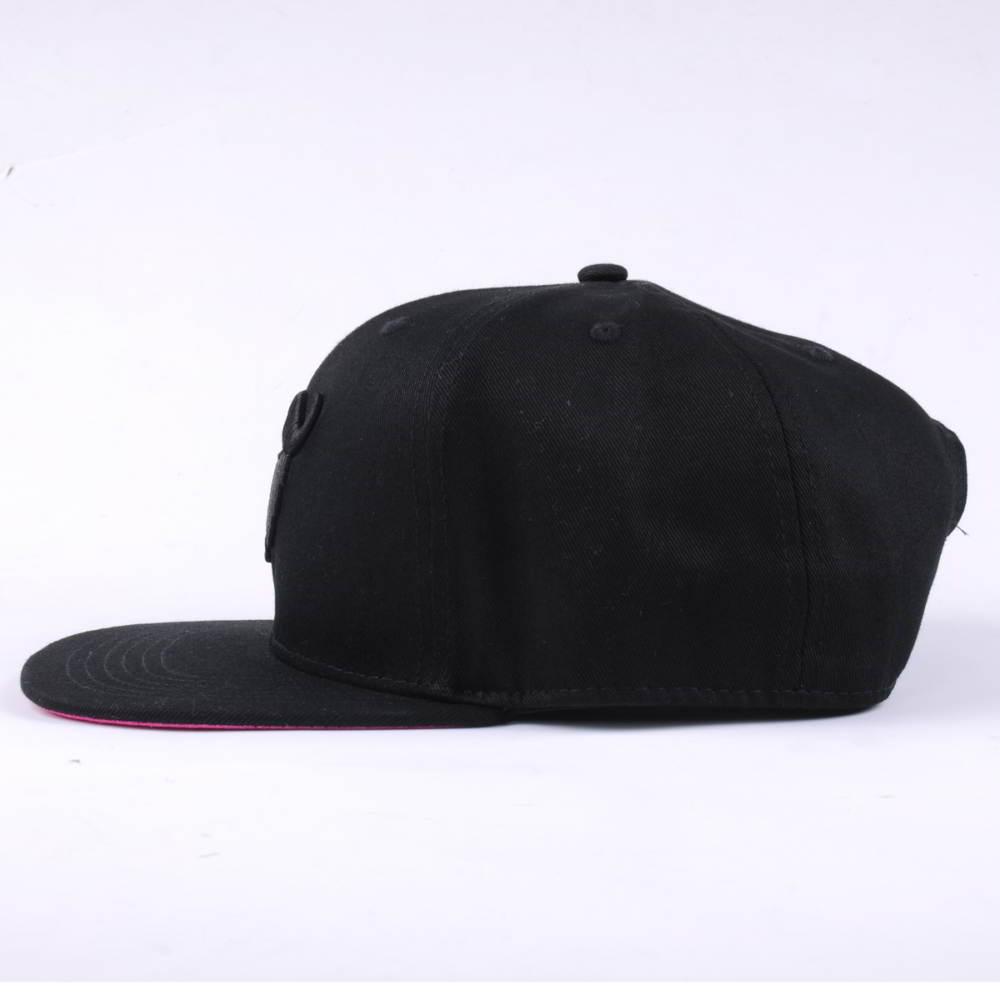 black 3d embroidery flat brim snapback caps