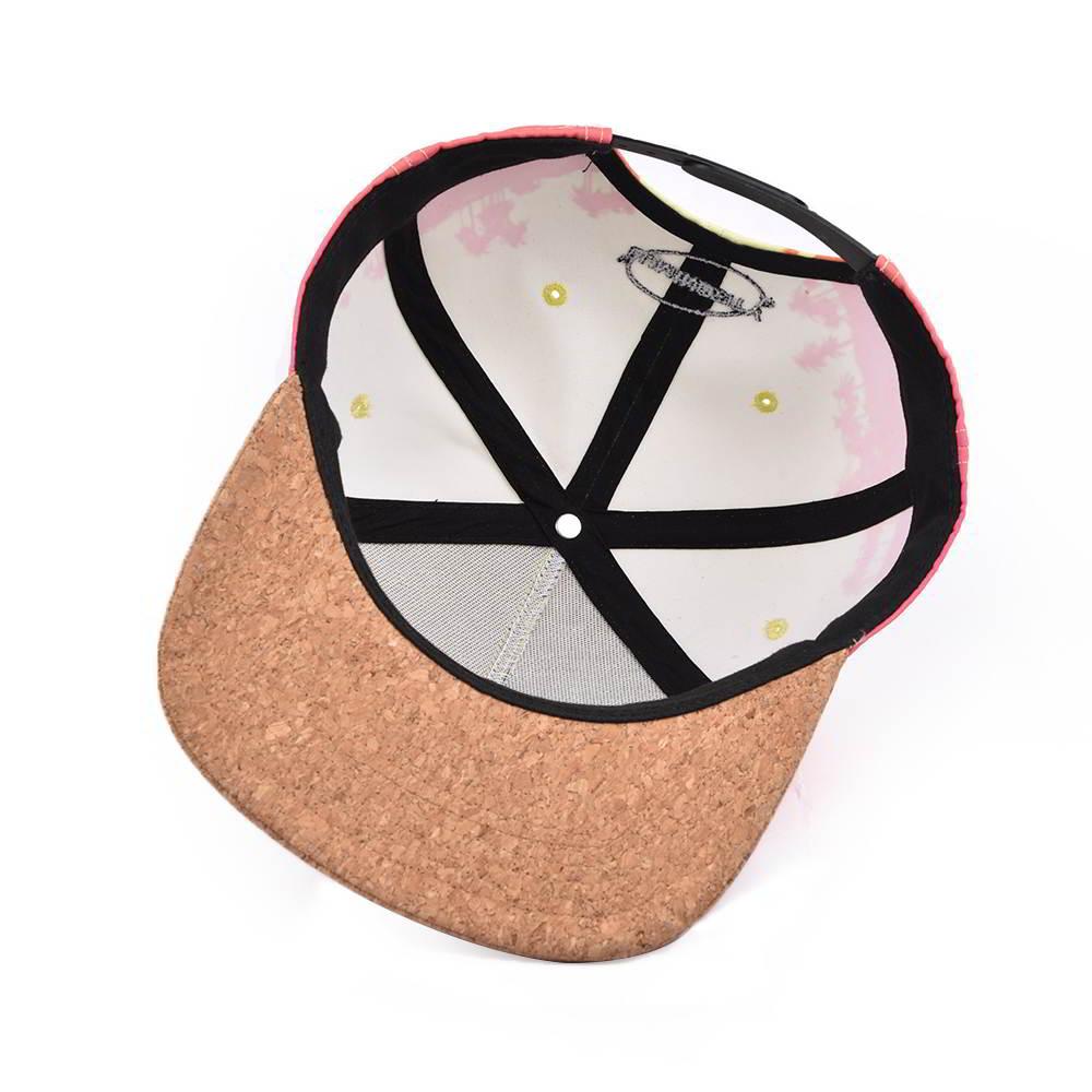 cork brim embroidery patch 5 panels snapback hats
