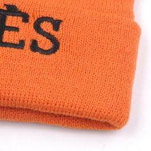 embroidery letters logo winter beanies cuffed knitted hats