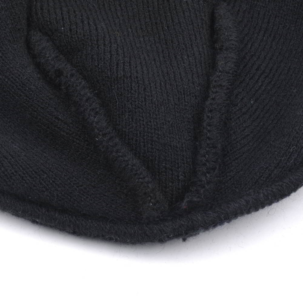 embroidery logo black jacquard cuffed winter beanies custom