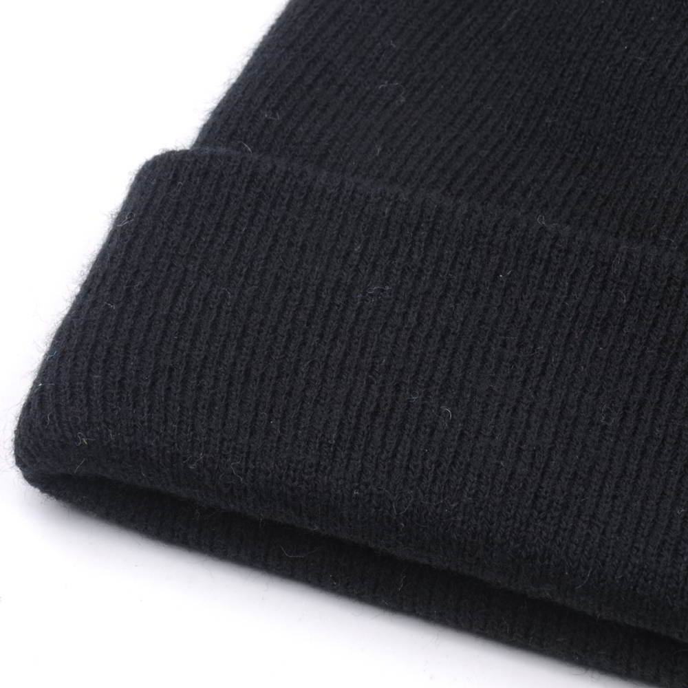 plain blank without logo black cuffed beanies