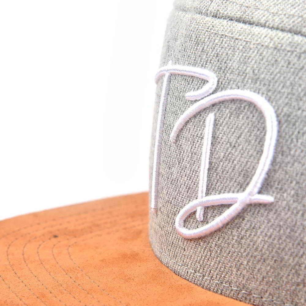 suede brim 3d embroidery 7 panels acrylic wool snapback hats