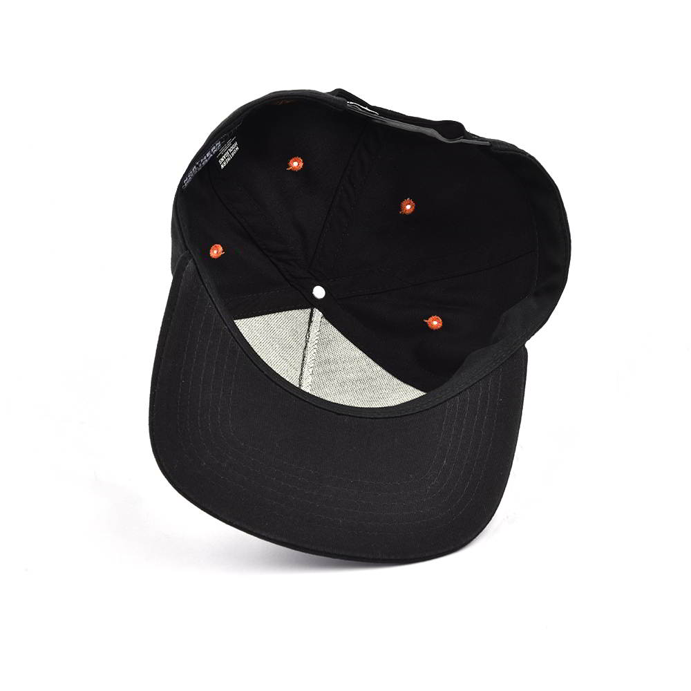 5 panels label patch black snapback hats custom