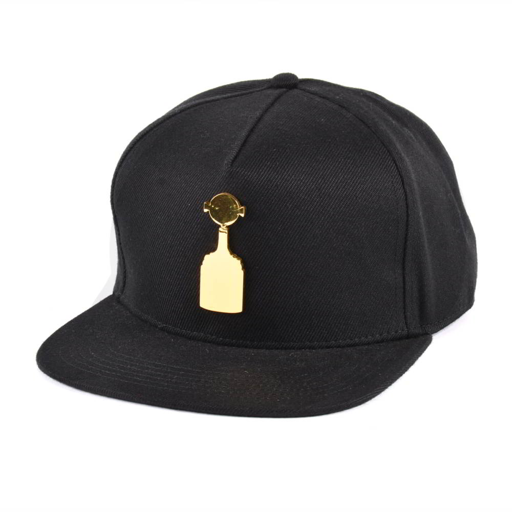 5 panels metal plate black snapback hats