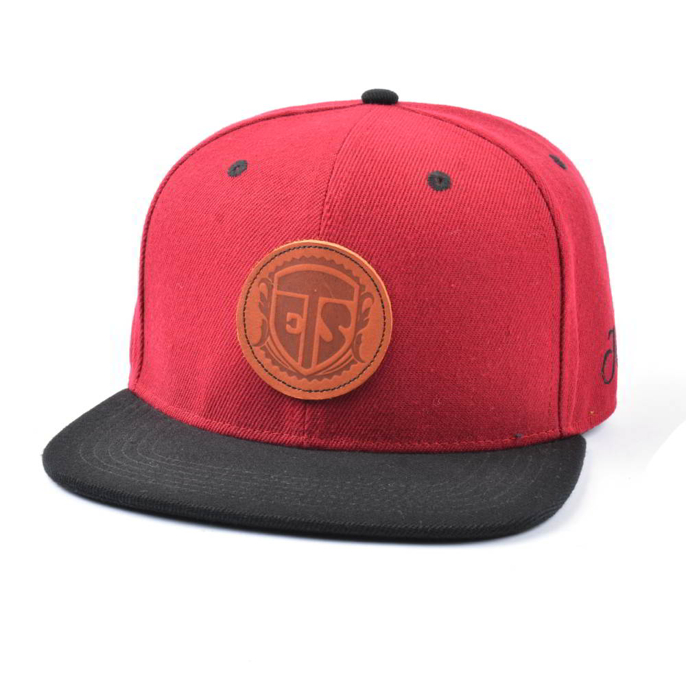 leather patch 6 panels two tone snapback hats