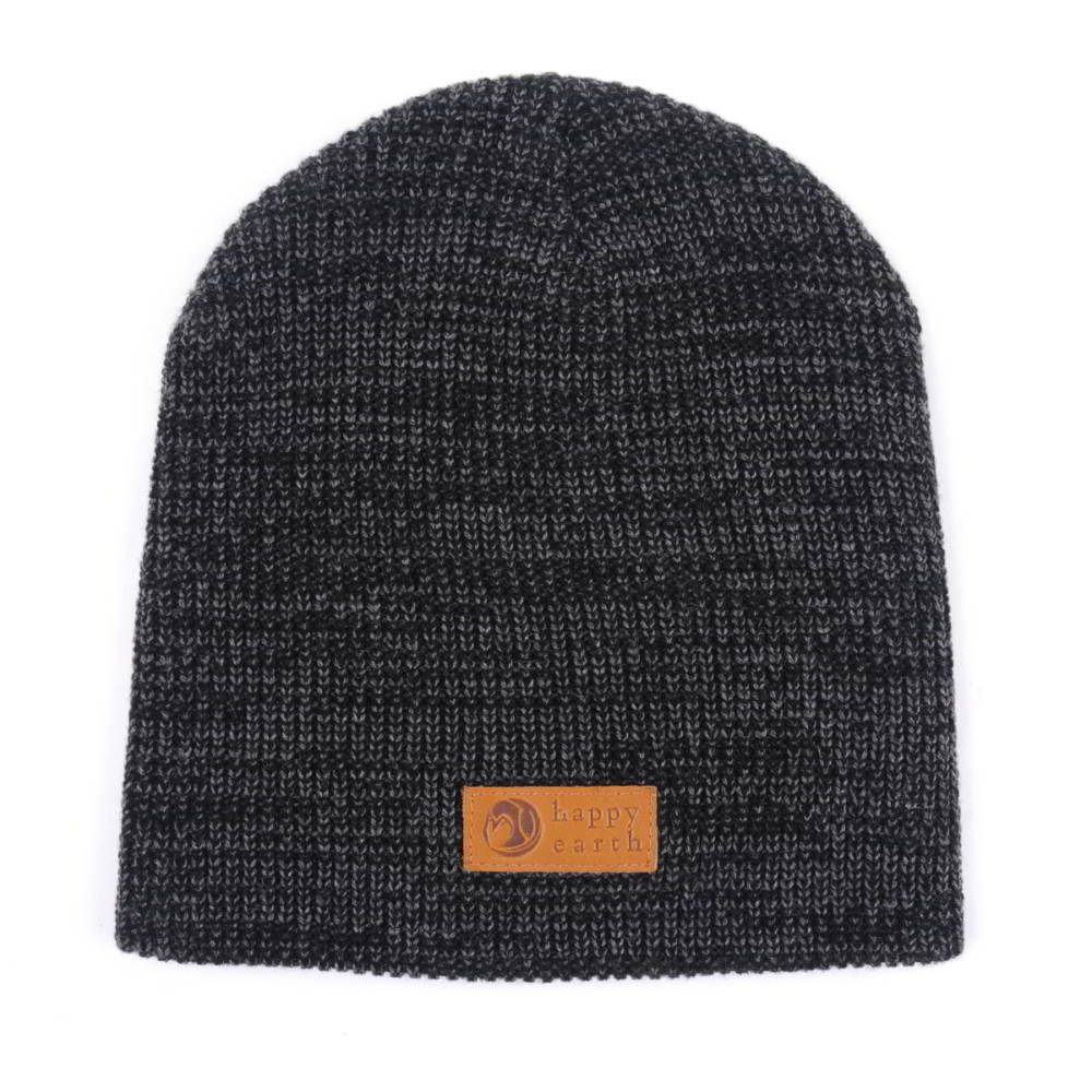 leather patch cuffed winter caps beanies