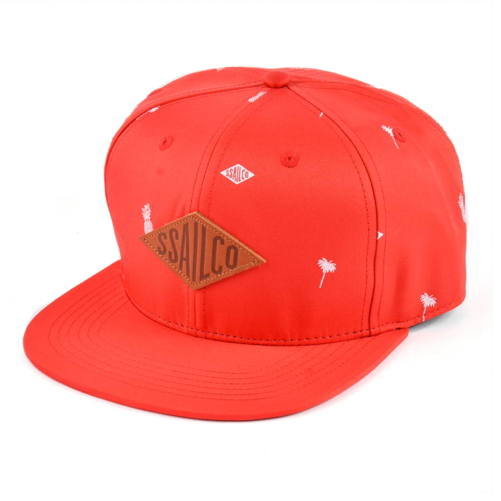 leather patch red snapback hats custom
