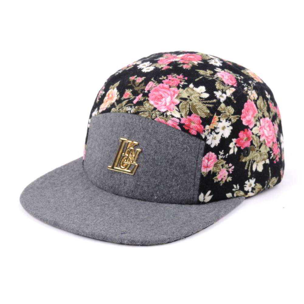 metal label melton wool digital printing 5 panels caps