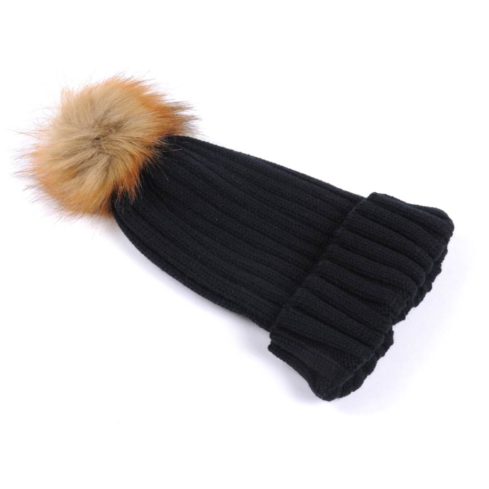 plain blank pom winter black beanies