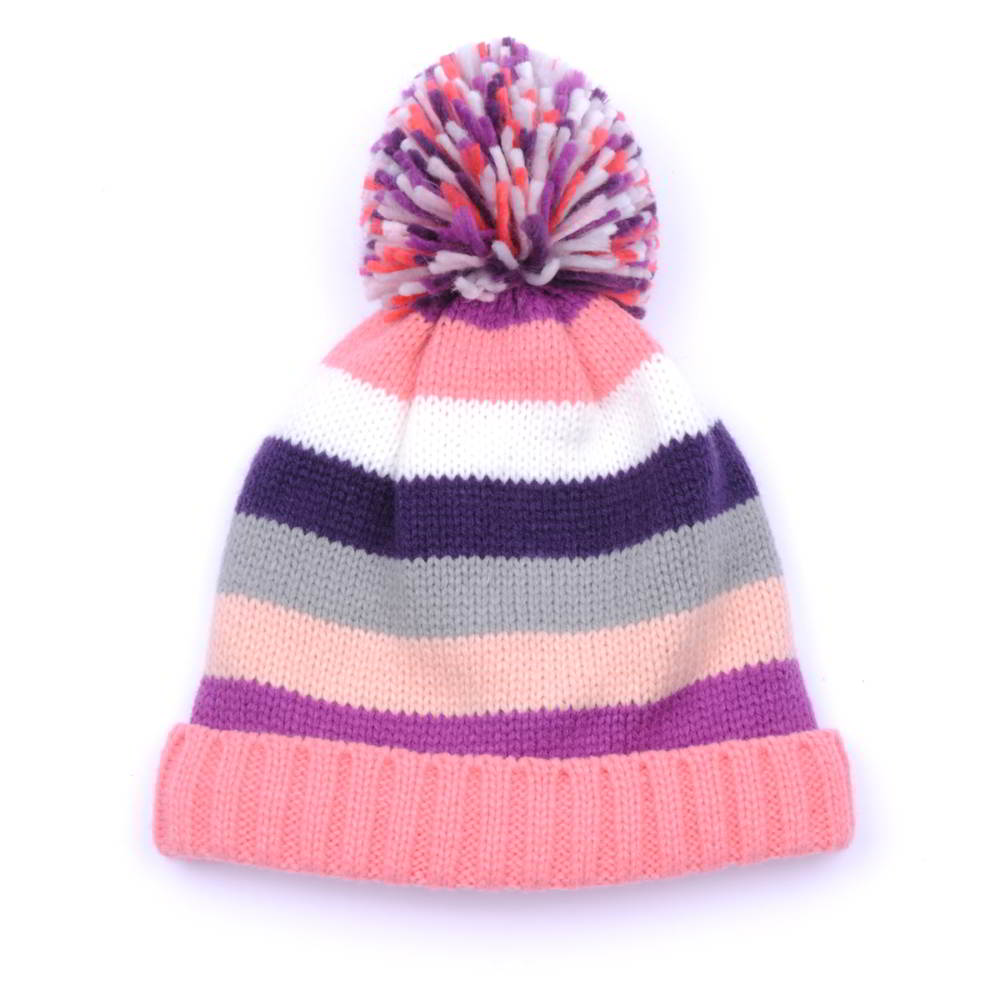 plain blank stripes pom winter beanies