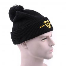 plain embroidery black slouchy winter beanies