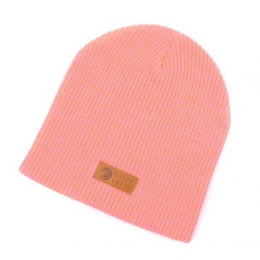 plain leather logo pink winter cuffed beanies