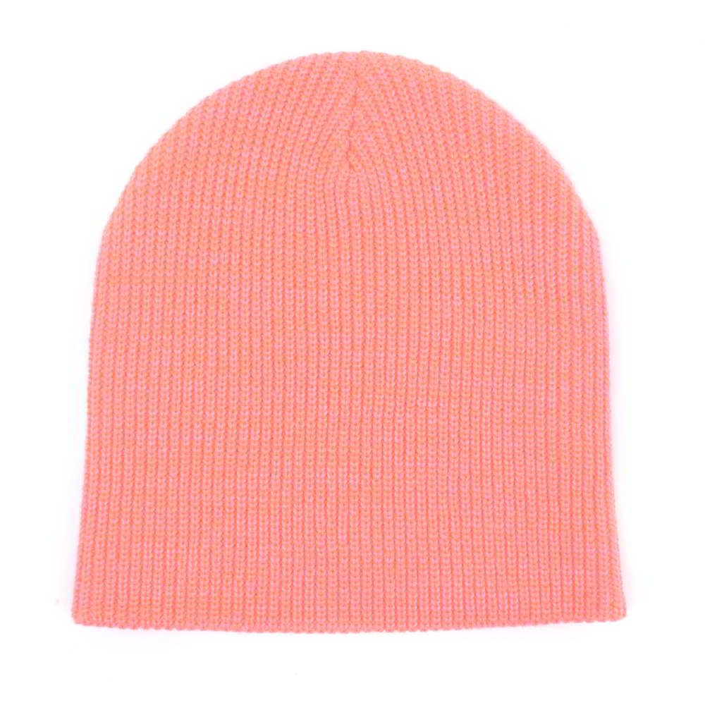 plain leather logo pink winter cuffed beanies